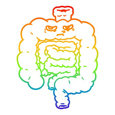 rainbow gradient line drawing of a cartoon intestines Stock Illustratie