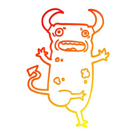 warm gradient line drawing of a cartoon demon