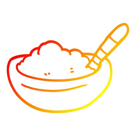 warm gradient line drawing of a cartoon bowl of mashed potato
