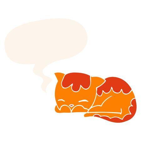 cartoon cat sleeping with speech bubble in retro style