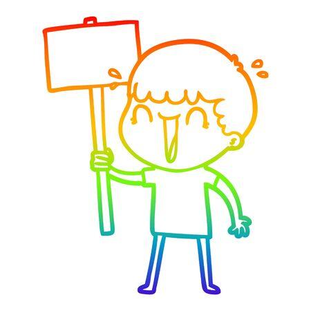 rainbow gradient line drawing of a laughing cartoon man waving placard 向量圖像