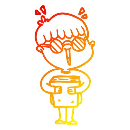 warm gradient line drawing of a cartoon boy and book