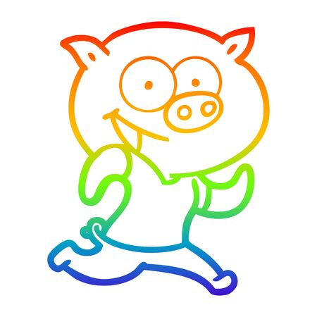 rainbow gradient line drawing of a cheerful pig exercising cartoon 向量圖像