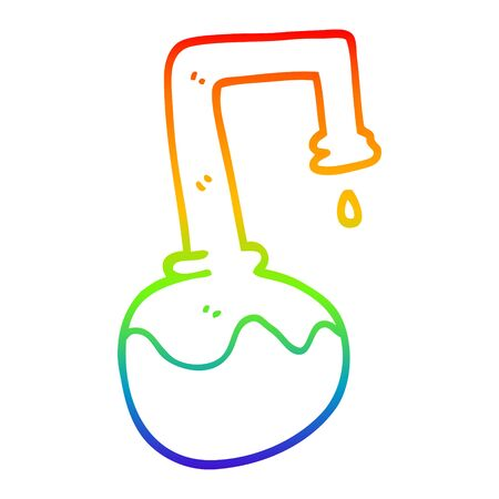 rainbow gradient line drawing of a cartoon bubbling chemicals Çizim