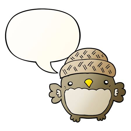 cute cartoon owl in hat with speech bubble in smooth gradient style Illusztráció