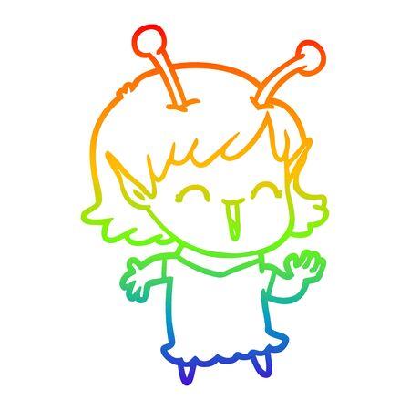 rainbow gradient line drawing of a cartoon alien girl laughing 向量圖像