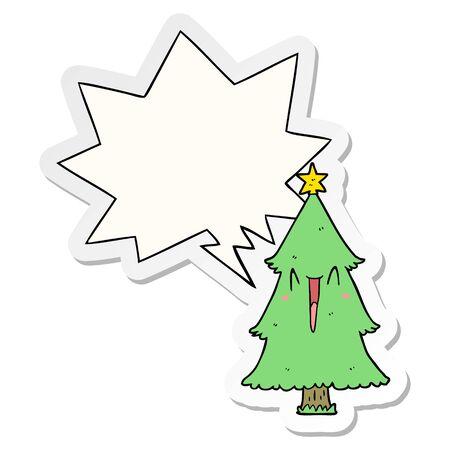 cartoon christmas tree with speech bubble sticker