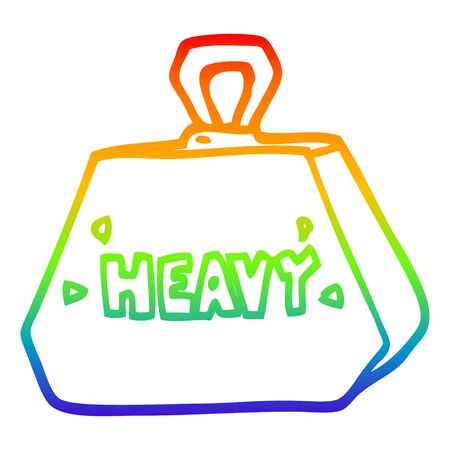 rainbow gradient line drawing of a cartoon heavy weight Illustration