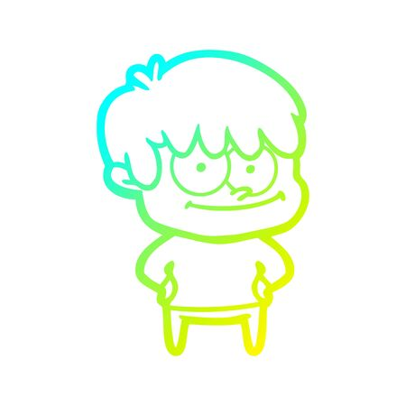 cold gradient line drawing of a happy cartoon man