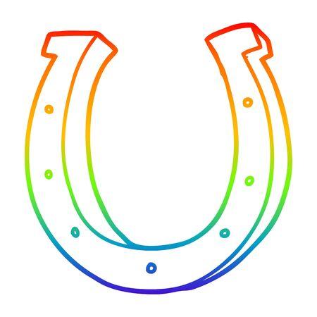 rainbow gradient line drawing of a cartoon iron horse shoe Иллюстрация