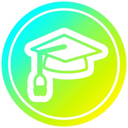 graduation cap circular icon with cool gradient finish