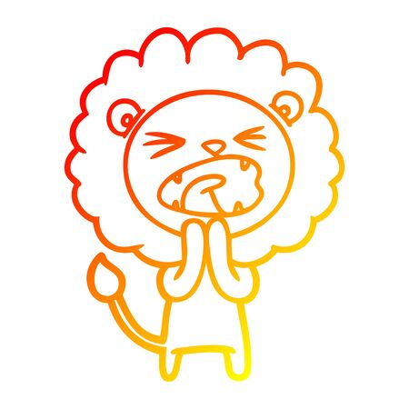 warm gradient line drawing of a cartoon lion praying Standard-Bild - 129278876
