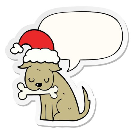 cute christmas dog with speech bubble sticker Ilustrace