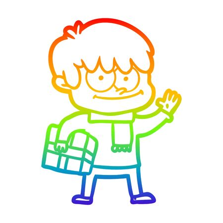 rainbow gradient line drawing of a happy cartoon man