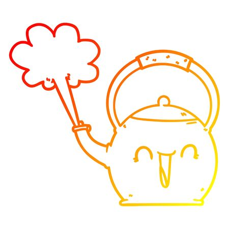 warm gradient line drawing of a cartoon boiling kettle Ilustração