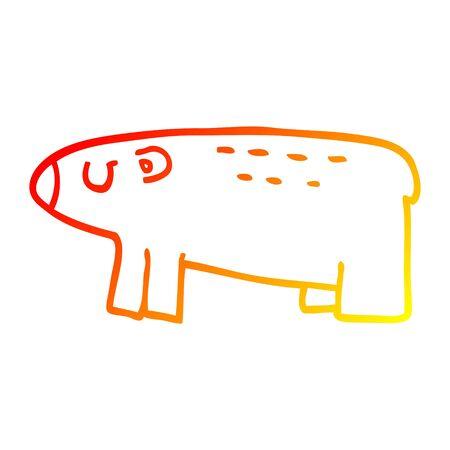 warm gradient line drawing of a cartoon polar bear