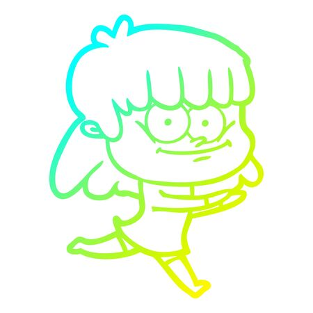 cold gradient line drawing of a cartoon smiling woman
