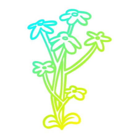 cold gradient line drawing of a flower