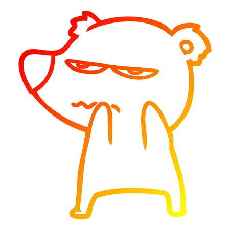 warm gradient line drawing of a annoyed bear cartoon