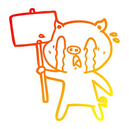 warm gradient line drawing of a crying pig cartoon with protest sign