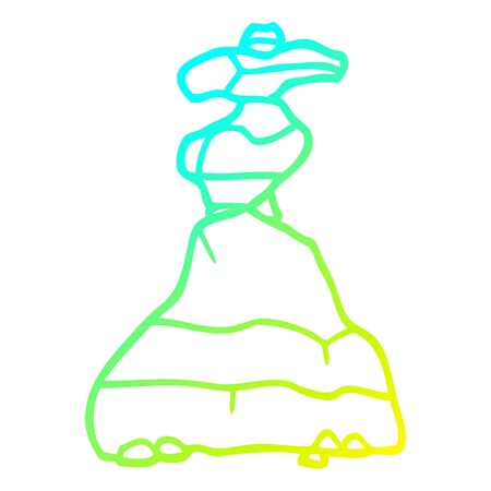 cold gradient line drawing of a cartoon of stacked stones Illustration