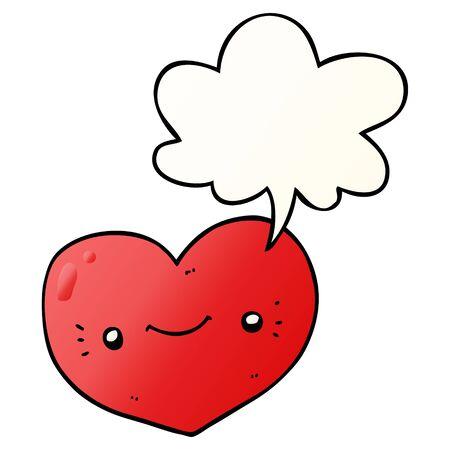 heart cartoon character with speech bubble in smooth gradient style Illusztráció