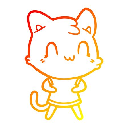 warm gradient line drawing of a cartoon happy cat