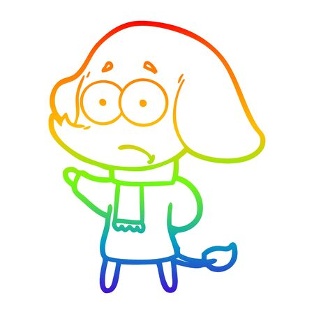 rainbow gradient line drawing of a cartoon unsure elephant in scarf