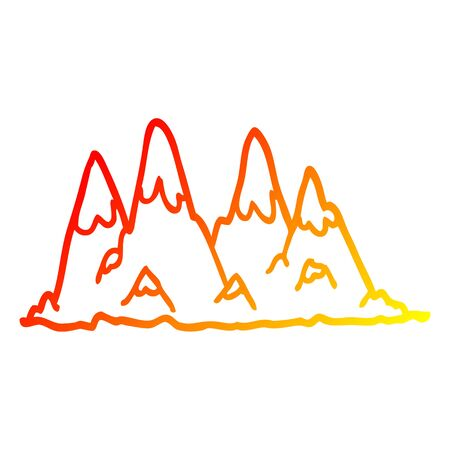 warm gradient line drawing of a cartoon mountain range 版權商用圖片 - 129278620