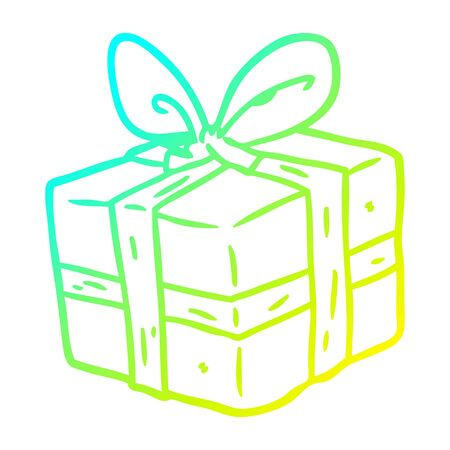 cold gradient line drawing of a wrapped gift  イラスト・ベクター素材