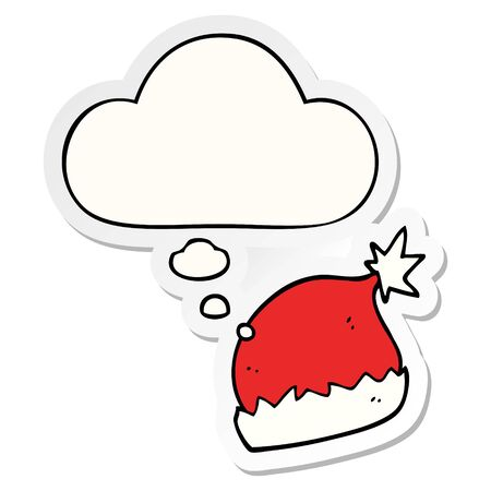 cartoon santa hat with thought bubble as a printed sticker  イラスト・ベクター素材