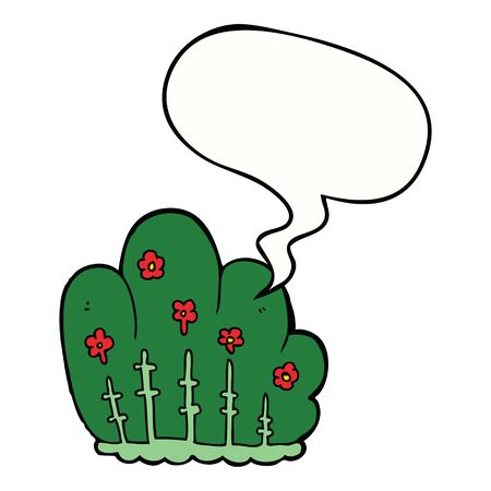 cartoon hedge with speech bubble Illustration