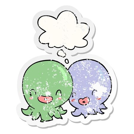 two cartoon octopi  with thought bubble as a distressed worn sticker