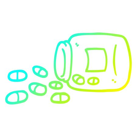 cold gradient line drawing of a cartoon jar of pills Ilustracja