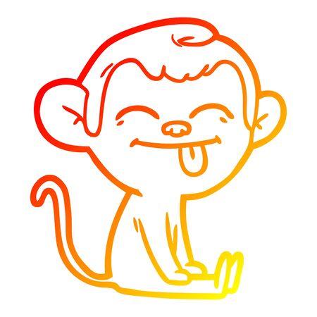 warm gradient line drawing of a funny cartoon monkey sitting Illustration