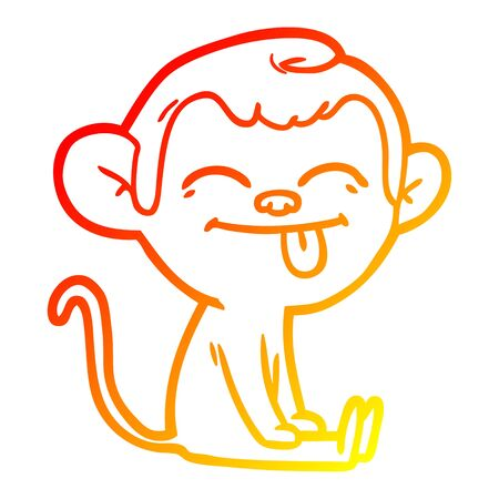 warm gradient line drawing of a funny cartoon monkey sitting Stock Vector - 129278654