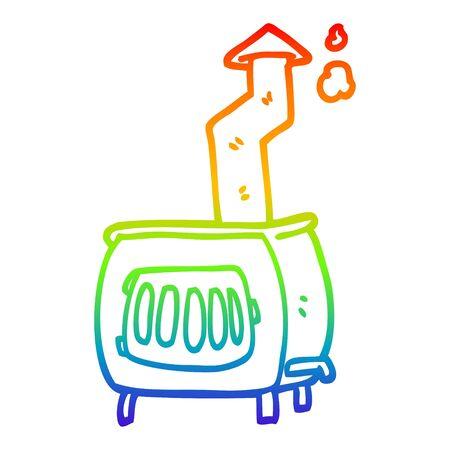 rainbow gradient line drawing of a cartoon old wood burner
