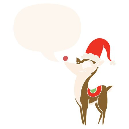 cartoon christmas reindeer with speech bubble in retro style