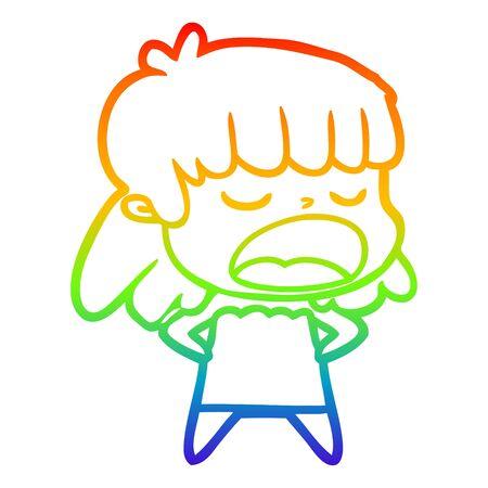 rainbow gradient line drawing of a cartoon woman talking loudly Illusztráció