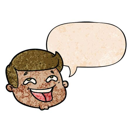 happy cartoon male face with speech bubble in retro texture style