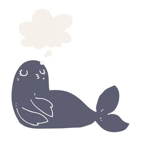cartoon seal with thought bubble in retro style