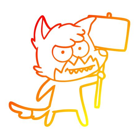 warm gradient line drawing of a cartoon grinning fox with protest sign