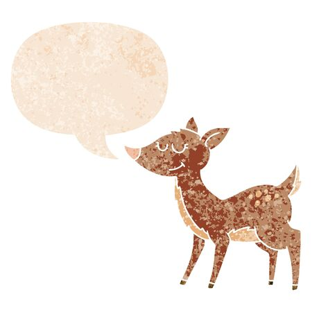 cartoon deer with speech bubble in grunge distressed retro textured style Ilustrace