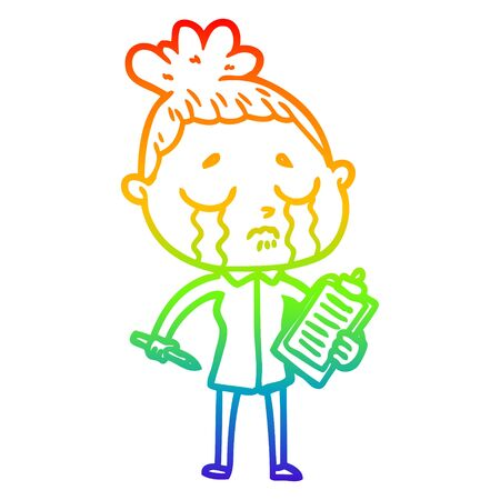rainbow gradient line drawing of a cartoon crying saleswoman