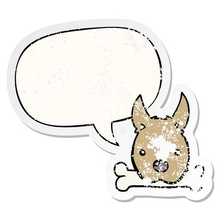 cartoon dog with bone with speech bubble distressed distressed old sticker