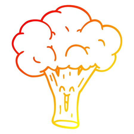 warm gradient line drawing of a cartoon broccoli
