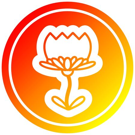 lotus flower circular icon with warm gradient finish