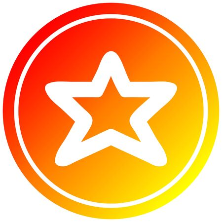 star shape circular icon with warm gradient finish