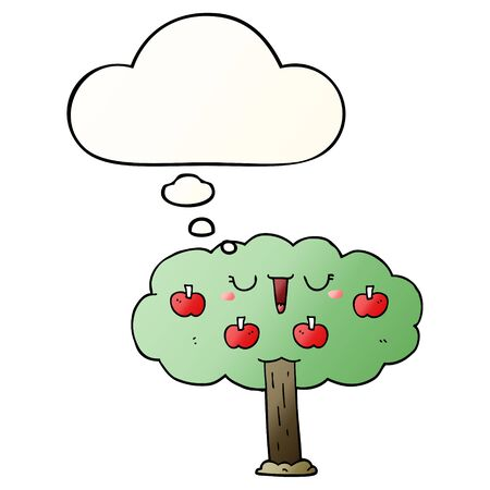 cartoon apple tree with thought bubble in smooth gradient style