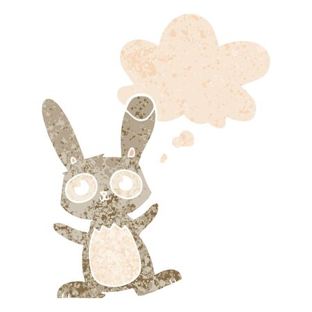 cute cartoon rabbit with thought bubble in grunge distressed retro textured style Çizim